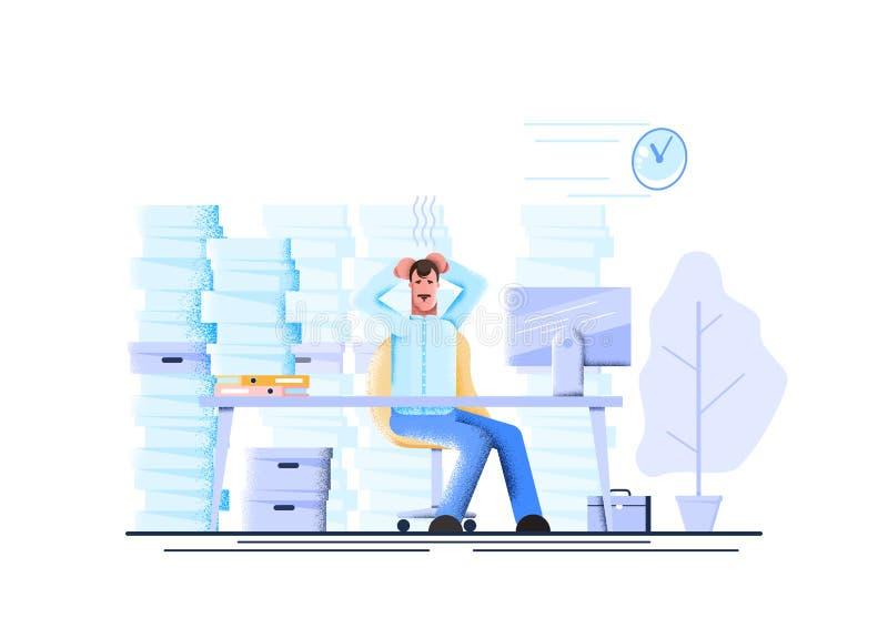 Asen al oficinista cansado y exasperado su cabeza entre pilas de papeles y de documentos Tensi?n en la oficina Vector moderno libre illustration