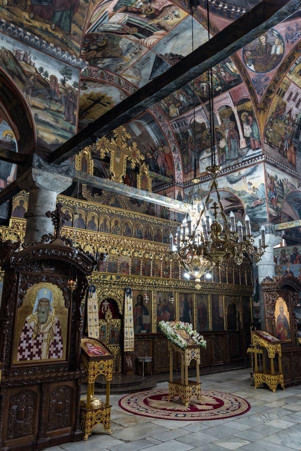 Frescoes and paintings in Bachkovo monastery aka Assumption of the Holy Virgin, landmark and pilgrimage site. Asenovgrad,. Asenovgrad, Bulgaria - May 7, 2019 royalty free stock image