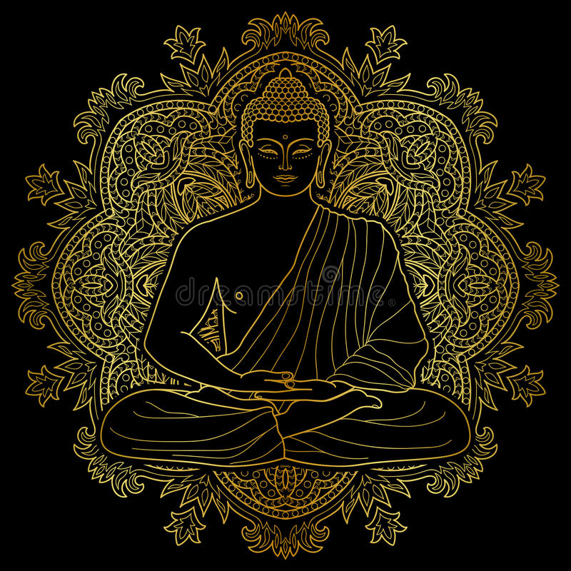 Asentado meditando el oro Buda ilustración del vector