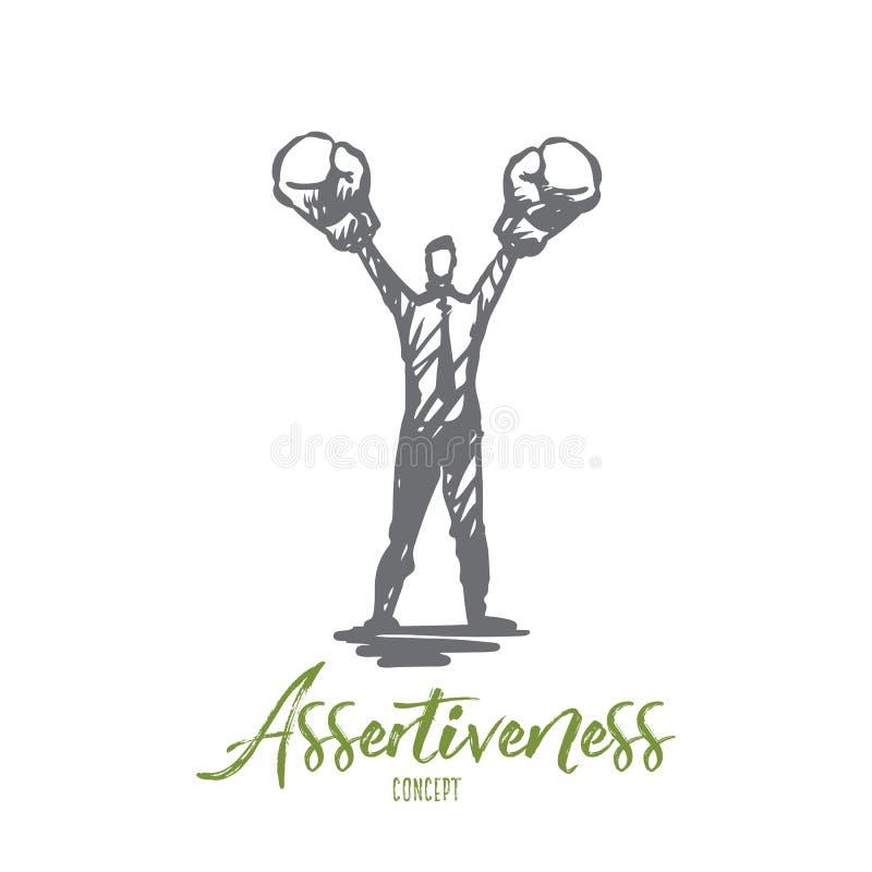 Asertywność, sukces, praca, kompetencja, motywaci pojęcie Ręka rysujący odosobniony wektor ilustracja wektor
