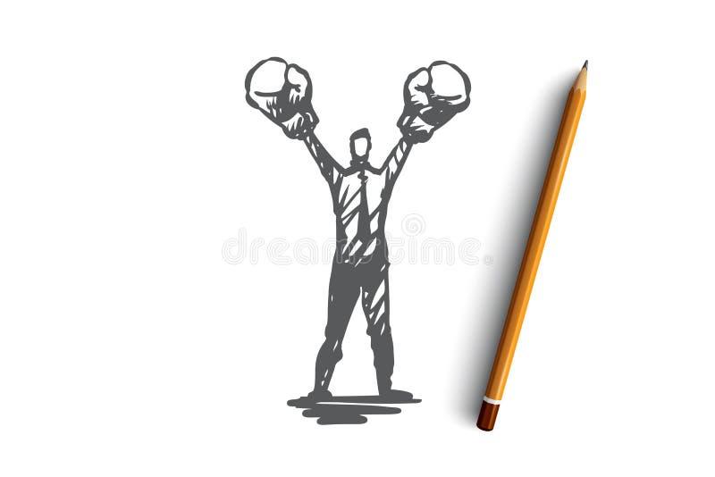 Asertywność, sukces, praca, kompetencja, motywaci pojęcie Ręka rysujący odosobniony wektor ilustracji