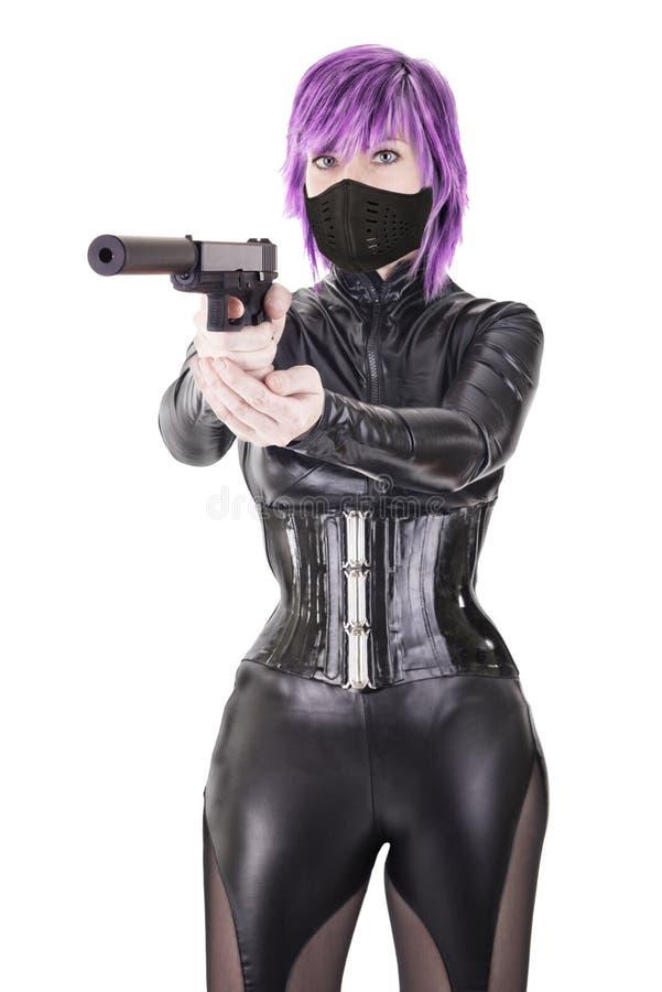 Asesino atractivo listo para tirar foto de archivo libre de regalías