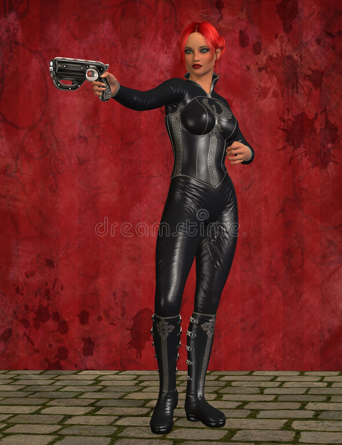 Asesino de sexo femenino stock de ilustración