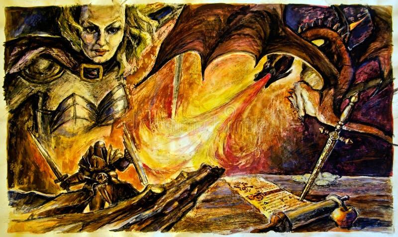 Asesino del dragón ilustración del vector