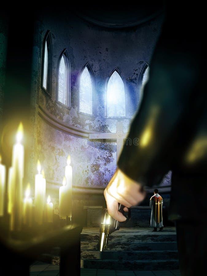 Asesino del sacerdote ilustración del vector