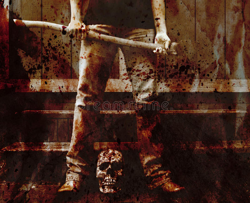 Asesino sangriento del hacha imagen de archivo libre de regalías