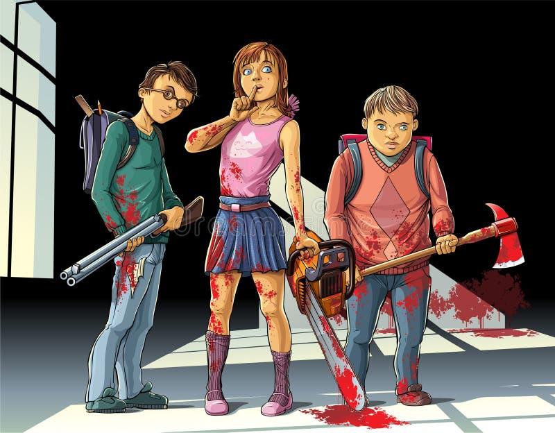Asesinos de los niños ilustración del vector
