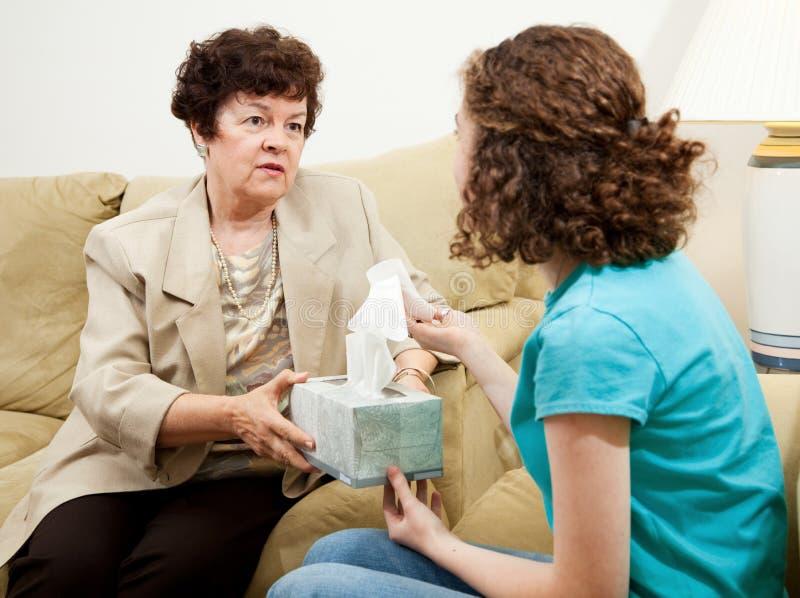 Asesoramiento adolescente - tenga un tejido foto de archivo libre de regalías