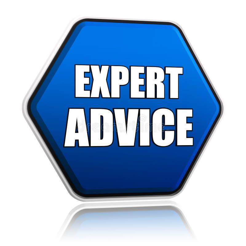 Asesoramiento de experto en hexágono azul stock de ilustración