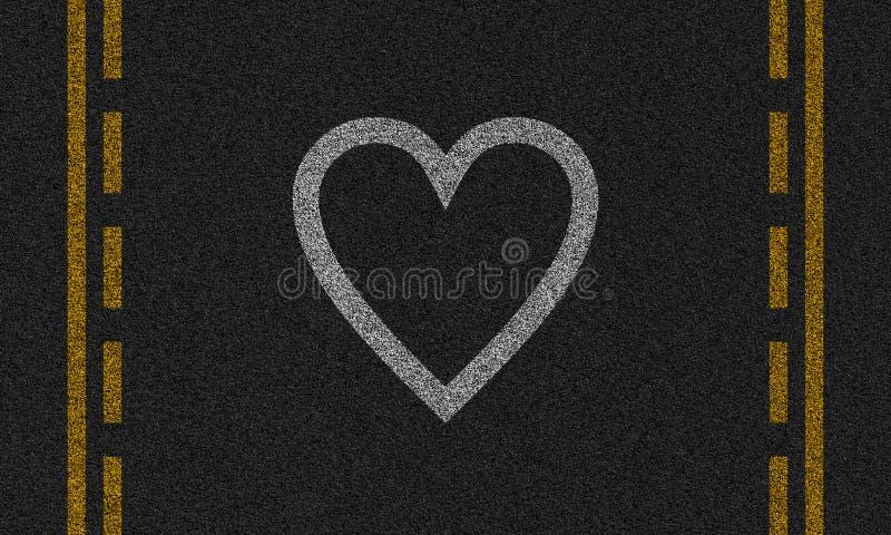 Asfaltachtergrond met geschilderd hart royalty-vrije illustratie