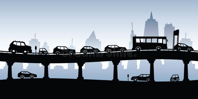 asfaltbilar sitter fast den seamless trafikvektorwallpaperen vektor illustrationer