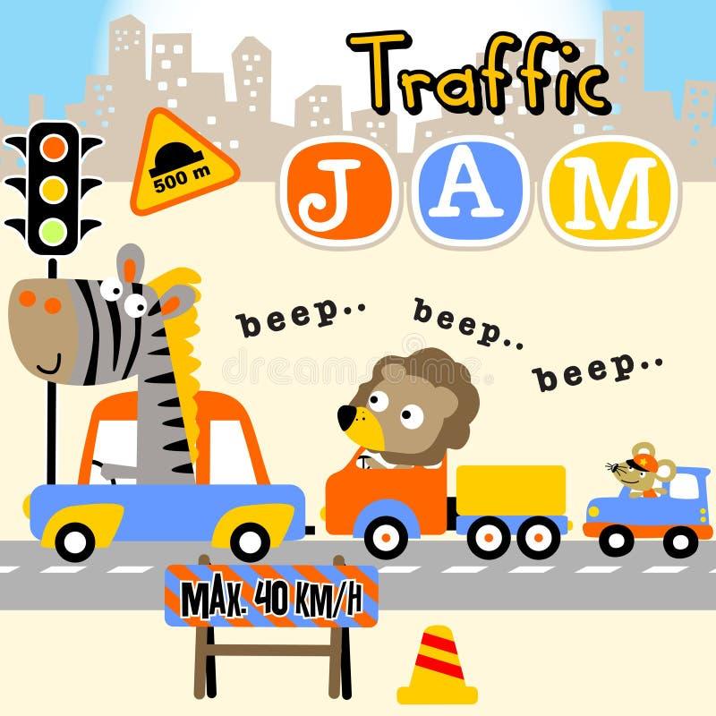 asfaltbilar sitter fast den seamless trafikvektorwallpaperen royaltyfri illustrationer