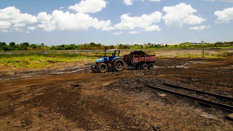 Asfaltera att bryta i grad sjön, La Brea i Trinidad och Tobago arkivfoton