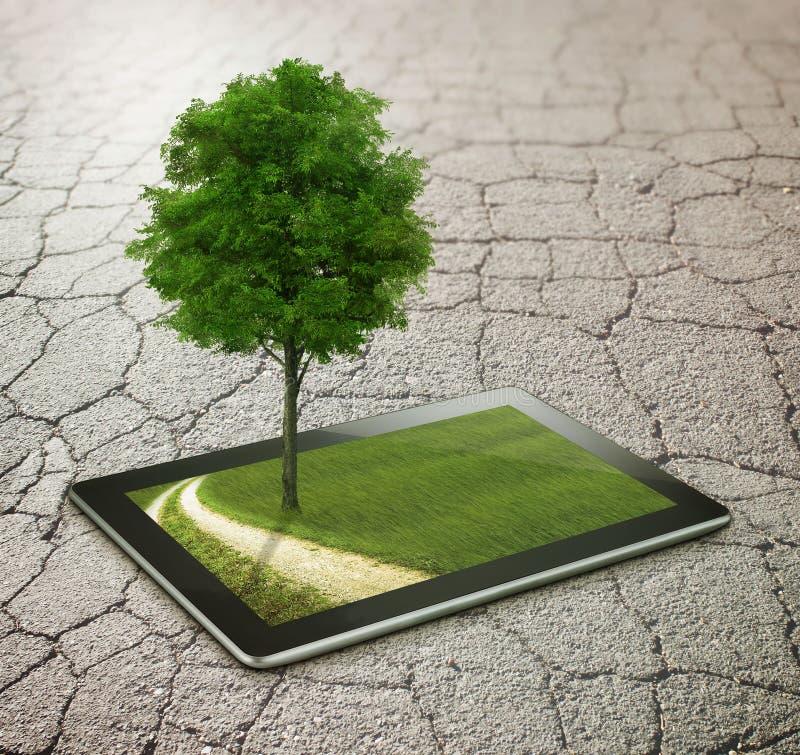 Asfalto con la tableta, el árbol y la carretera nacional stock de ilustración