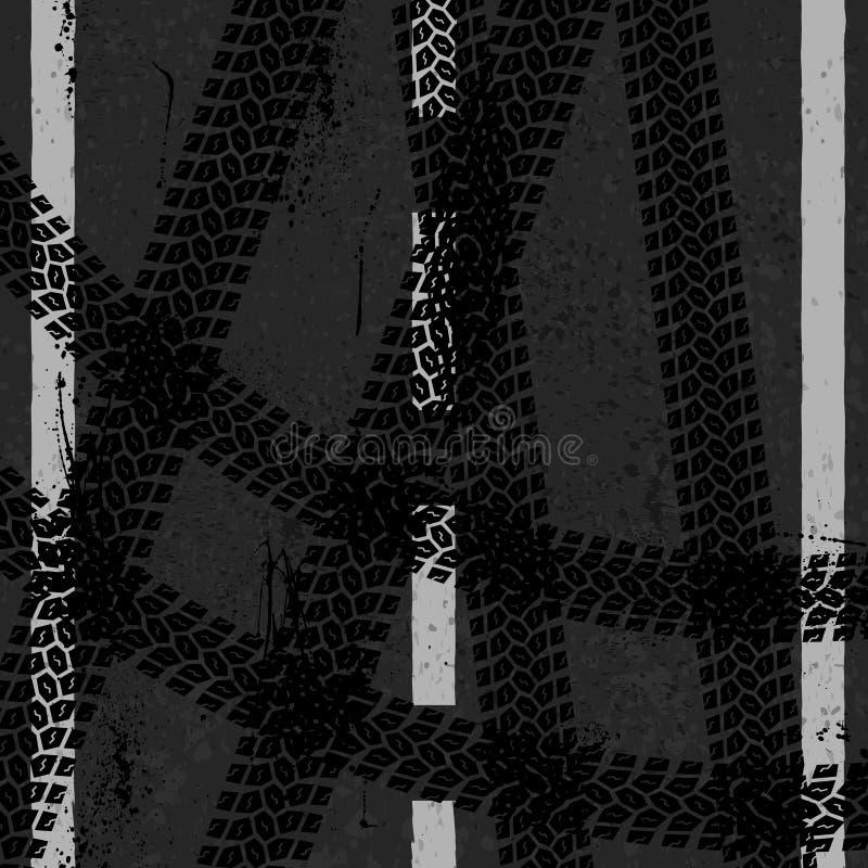 Asfalto con tres pistas del neumático libre illustration