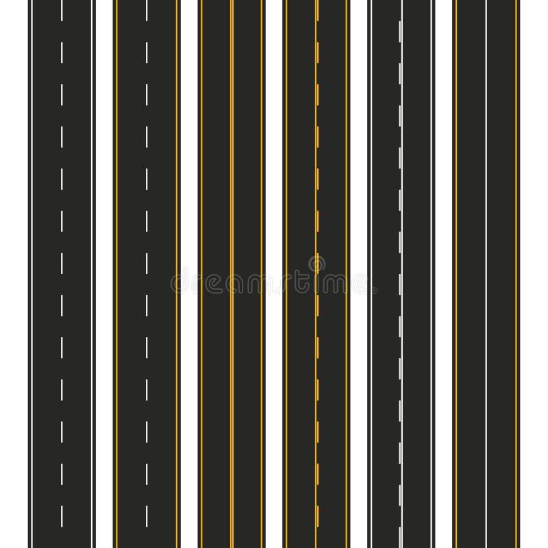 asfalto Insieme dei tipi della strada con le marcature Progettazione del modello della striscia della strada principale per infog illustrazione vettoriale