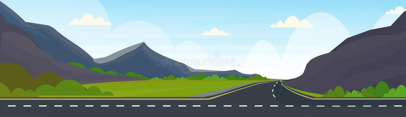 Asfaltowa autostrady droga i pięknego góry naturalnego krajobrazowego tła sztandaru horyzontalny mieszkanie royalty ilustracja