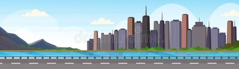 Asfaltowa autostrady droga nad pięknej rzecznej halnej miasto panoramy drapacz chmur pejzażu miejskiego tła linia horyzontu wysok royalty ilustracja