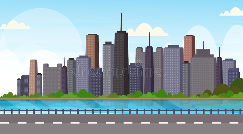 Asfaltowa autostrady droga nad pięknej rzecznej miasto panoramy drapacz chmur pejzażu miejskiego tła linia horyzontu wysokim mies ilustracja wektor