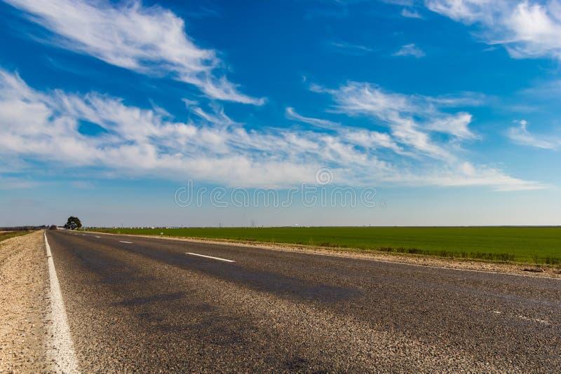 Asfaltowa droga blisko zielonego pola pod niebieskim niebem z białymi chmurami obraz royalty free