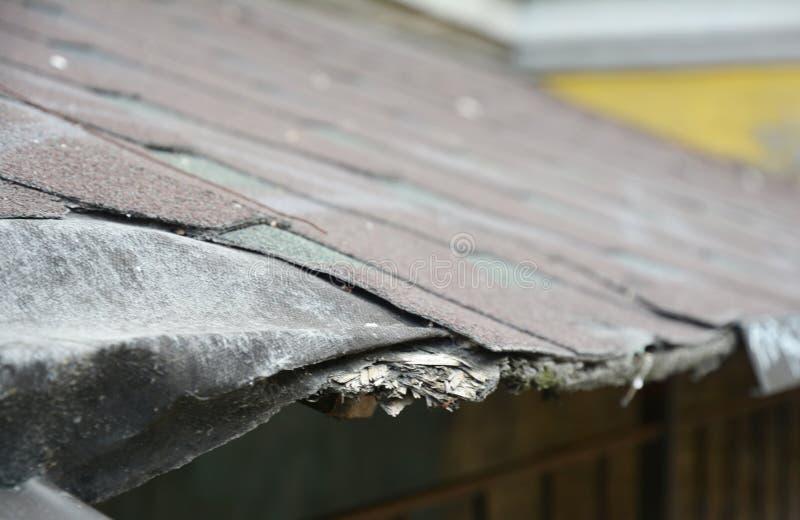 Asfaltowa gont szkoda wystrzelony powodować uszkadzający target661_1_ wysoki przeciek z potencjału dachu sekci gontów burzy wiatr obraz stock