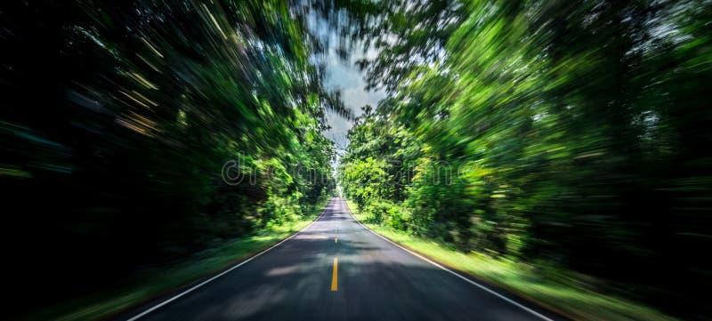 Asfaltowej drogi i prędkość ruchu plama na autostradzie w lecie z zielonymi drzewami lasowymi przy wsią zdjęcie stock
