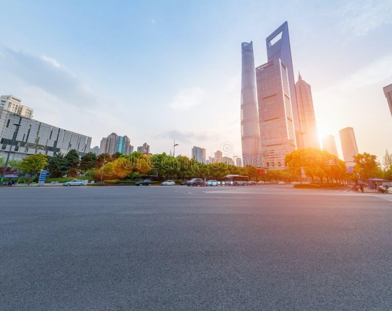 Asfaltowy bruk w Shanghai zdjęcia stock