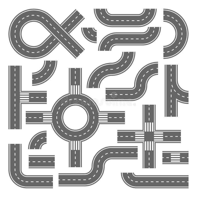 Asfaltowych dróg projekta elementy dla miasto mapy obraz royalty free