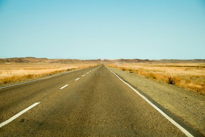 Asfaltująca droga przez stepową linia horyzontu koloru żółtego trawę obraz royalty free