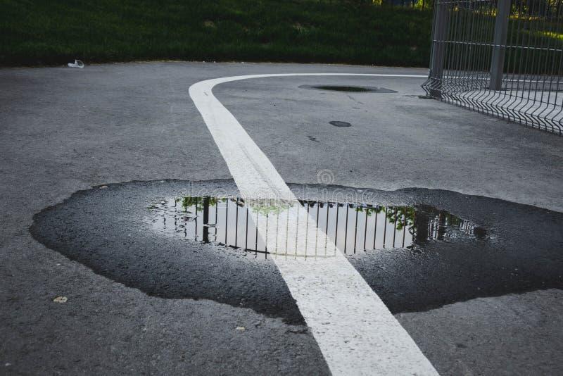 asfaltväg med en pöl och ett vitt band i mitten det vita bandet indikerar vinst arkivfoto
