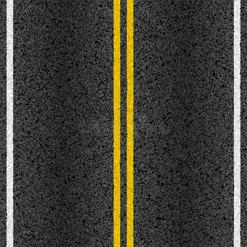 Asfaltväg med markeringslinjer stock illustrationer
