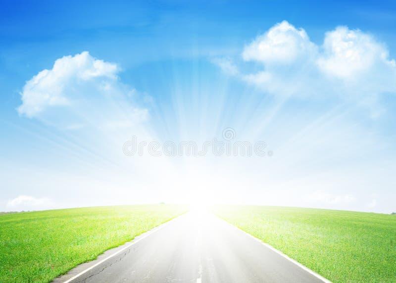 Asfaltväg till och med det gröna fältet och den blåa himlen fotografering för bildbyråer