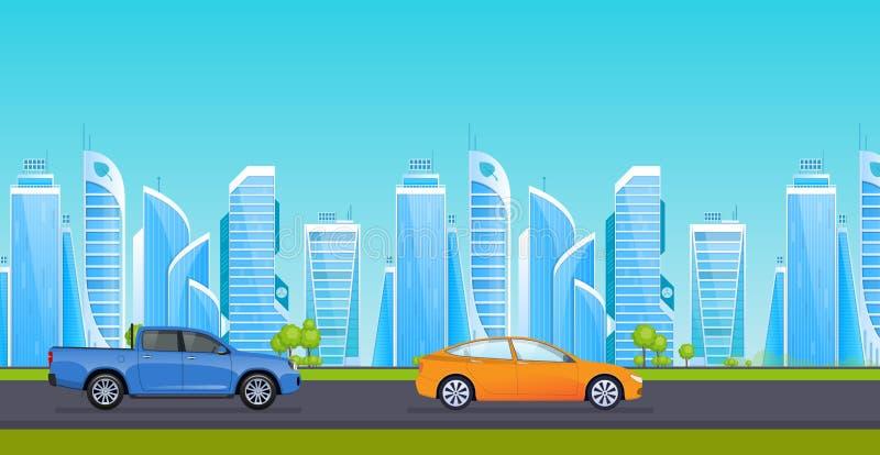 Asfaltweg met vervoer, op achtergrond van landschappen, high-rise gebouwen royalty-vrije illustratie