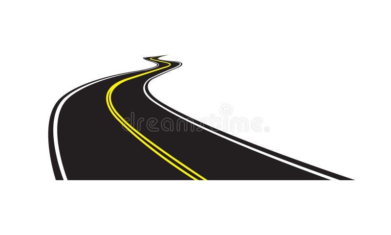 Asfaltweg op witte achtergrond wordt geïsoleerd die Vectorillustratie van het winden van weg vector illustratie