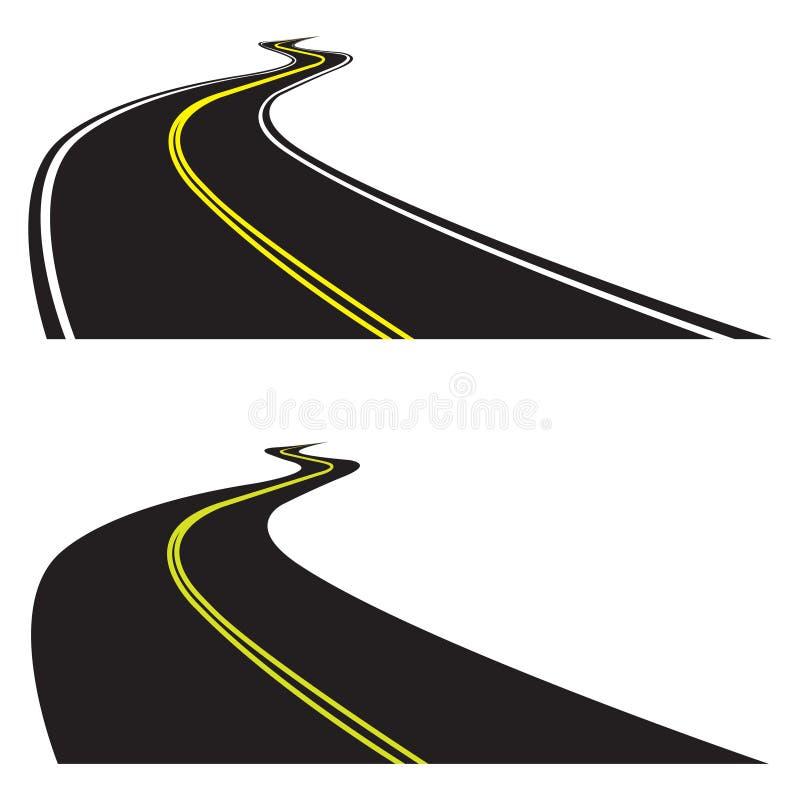 Asfaltweg op witte achtergrond wordt geplaatst die Vectorillustratie van het winden van weg De mening van het perspectief vector illustratie