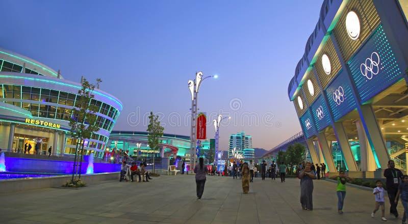 Asgabat, il Turkmenistan - 24 settembre 2017: Vista di notte del immagine stock