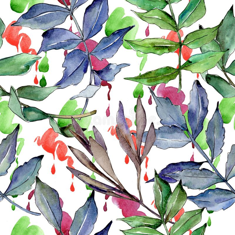 Ash leaves pattern in a watercolor style. royalty free illustration