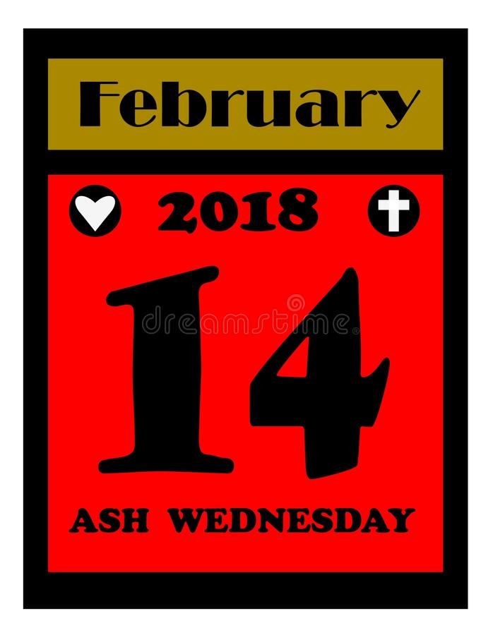 2018 Ash wednesday calendar icon. With red to highlight that it falls on valentines day in 2018 stock illustration