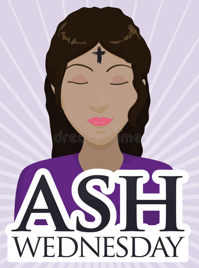Ash Wednesday Design with Brunette Woman Receiving the Ash Cross, Vector Illustration royalty free stock image