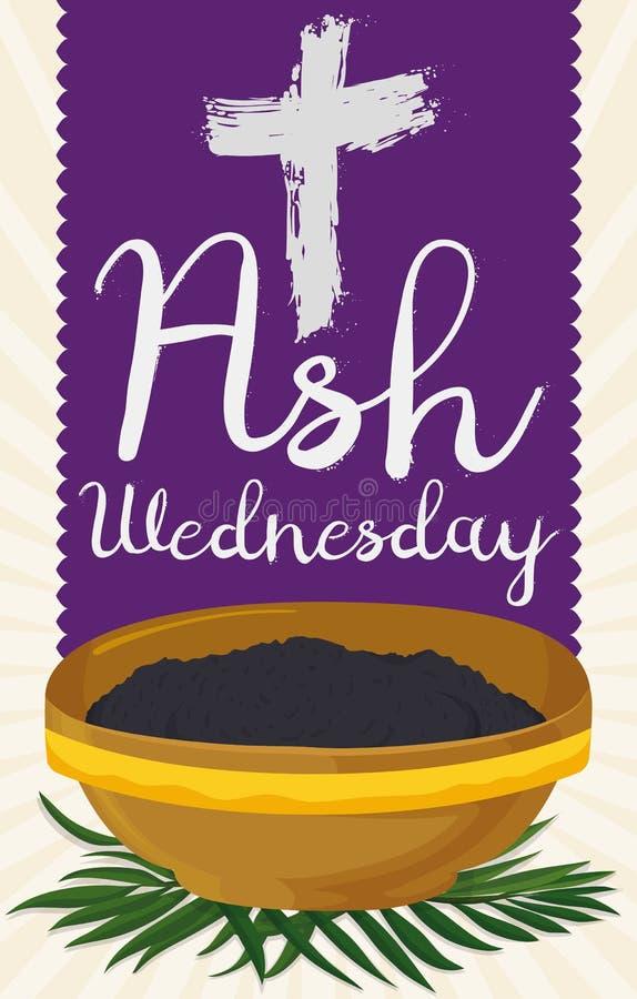 Ash Wednesday Design mit Kreuz, purpurroter Stola, Schüssel und Palmen, Vektor-Illustration stock abbildung