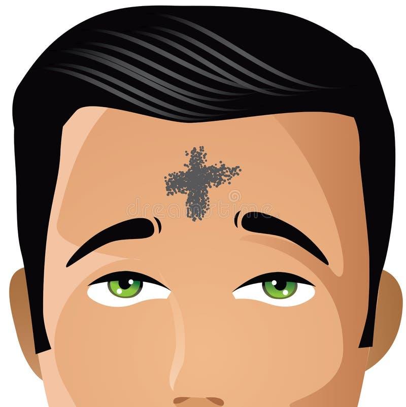 Ash Wednesday-Mann mit Kreuz der Asche stock abbildung