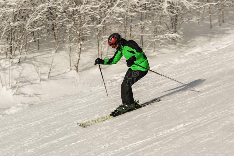 ASHA, РОССИЯ - 27-ое апреля 2011: мужской лыжник двигает вниз наклон против деревьев в снеге, нося черную и зеленую маску костюма стоковые фотографии rf
