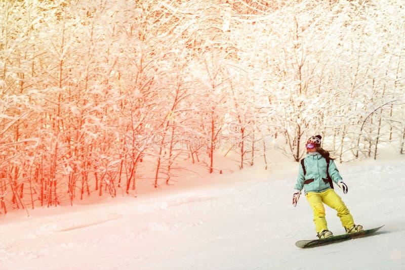 ASHA, ROSJA - 27 2011 Kwiecie?: dziewczyna w jaskrawym kostiumu bez he?ma na snowboard i, gogle jest tocznym puszkiem sk?on, ona obrazy royalty free