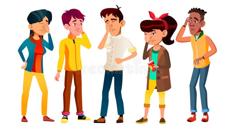 Ashamed Teenagers With Gesture Facepalm Set Vector. Collection Of Mulicultural Character Young People With Facepalm. Depression, Headache, Disappointment Or vector illustration