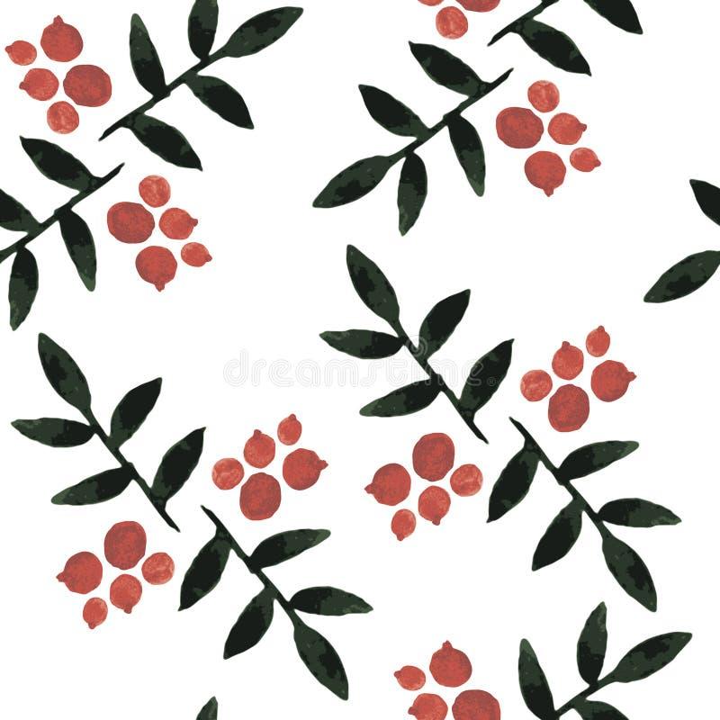Ashberry waterverf naadloos patroon vector illustratie