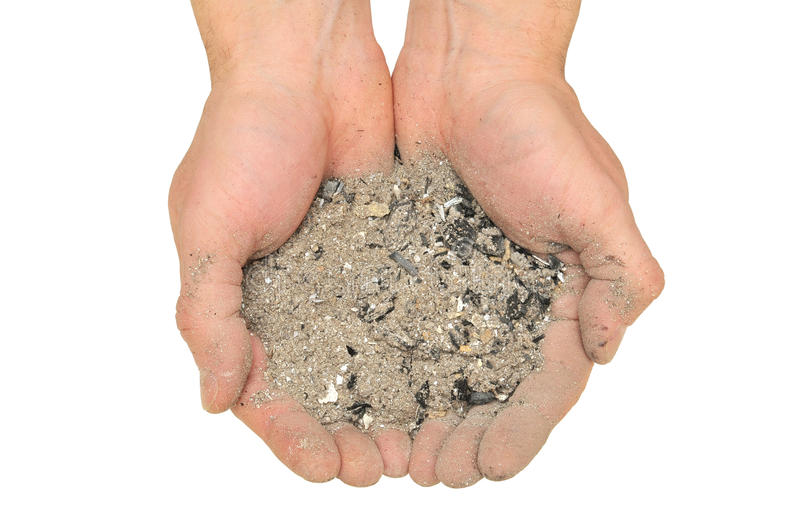 Ashes in hand royalty free stock photo