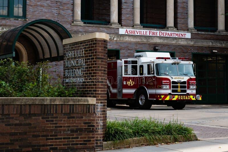 Asheville Fire Department. Asheville, North Carolina/USA-September 6, 2018: A fire truck parked outside the Asheville Fire Department stock photos