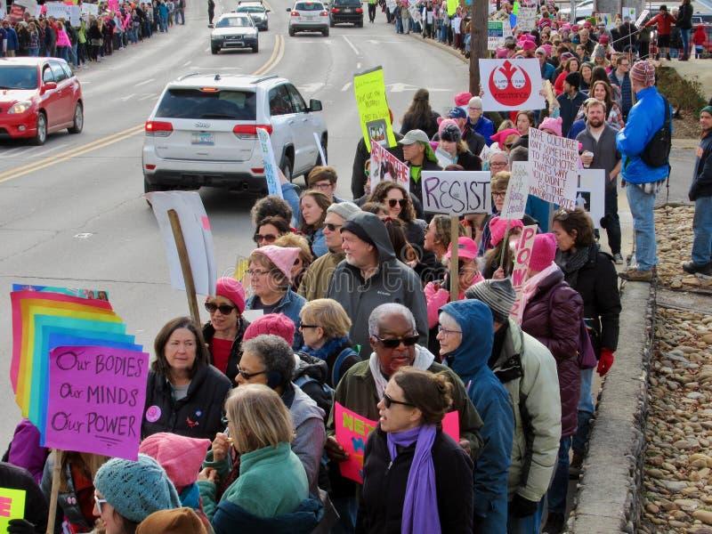 Asheville`s Women`s March 2018 stock photos