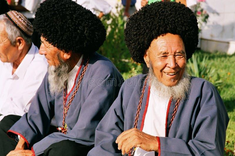 Ashgabat, Turkmenistan - August 26. Portrait of two old unident stock photography