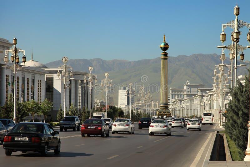 Ashgabat, Turkmenistan - Circa June 2013: Vew on the Wide modern. Boulevard Turkmenbashi with beautiful monument in Ashgabat (capital of Turkmenistan) Circa royalty free stock photography